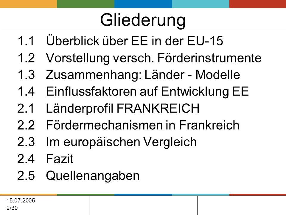 15.07.2005 2/30 Gliederung 1.1Überblick über EE in der EU-15 1.2 Vorstellung versch.