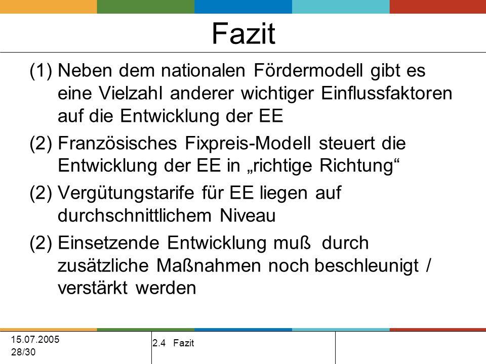 15.07.2005 28/30 Fazit (1)Neben dem nationalen Fördermodell gibt es eine Vielzahl anderer wichtiger Einflussfaktoren auf die Entwicklung der EE (2)Französisches Fixpreis-Modell steuert die Entwicklung der EE in richtige Richtung (2) Vergütungstarife für EE liegen auf durchschnittlichem Niveau (2) Einsetzende Entwicklung muß durch zusätzliche Maßnahmen noch beschleunigt / verstärkt werden 2.4 Fazit