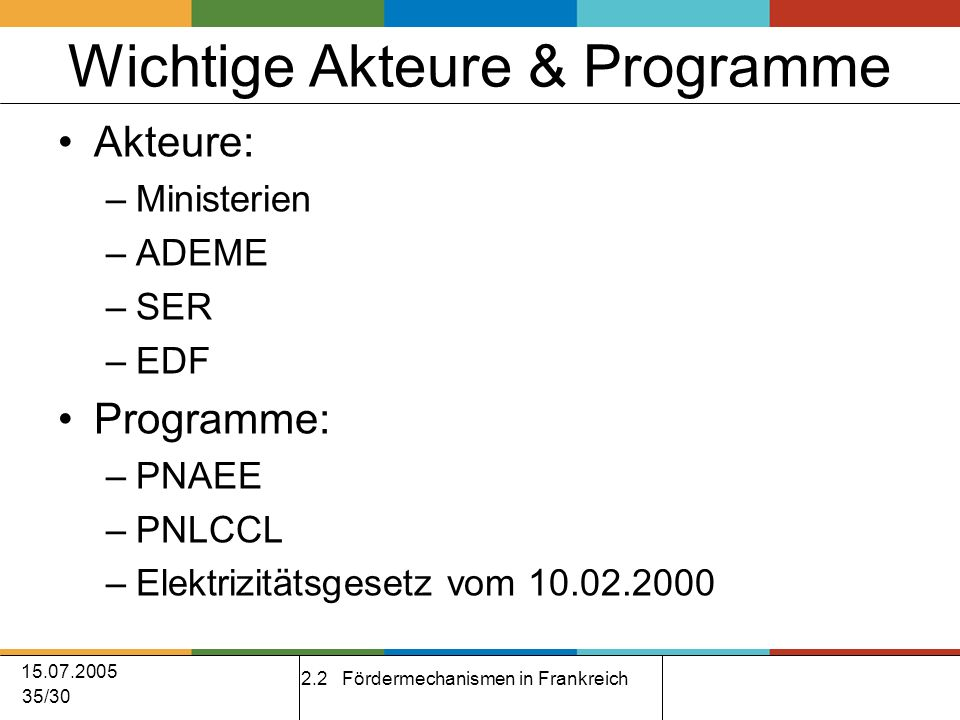 15.07.2005 35/30 Wichtige Akteure & Programme Akteure: –Ministerien –ADEME –SER –EDF Programme: –PNAEE –PNLCCL –Elektrizitätsgesetz vom 10.02.2000 2.2 Fördermechanismen in Frankreich