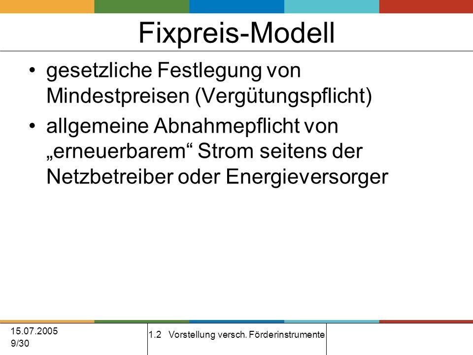 15.07.2005 9/30 Fixpreis-Modell gesetzliche Festlegung von Mindestpreisen (Vergütungspflicht) allgemeine Abnahmepflicht von erneuerbarem Strom seitens der Netzbetreiber oder Energieversorger 1.2 Vorstellung versch.