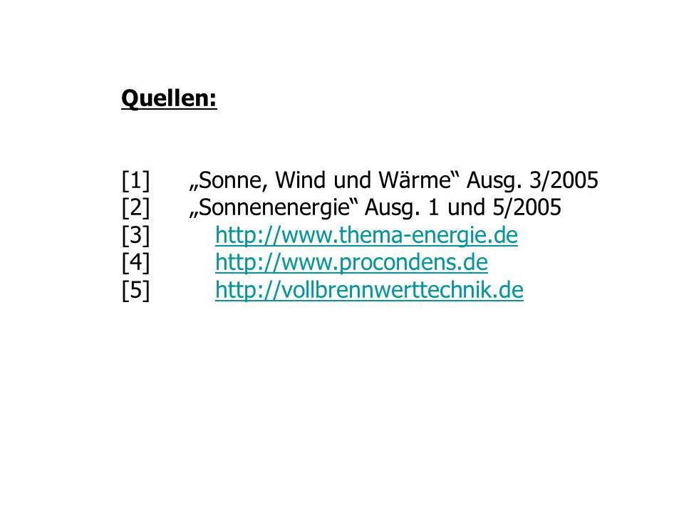 Quellen: [1]Sonne, Wind und Wärme Ausg. 3/2005 [2]Sonnenenergie Ausg. 1 und 5/2005 [3] http://www.thema-energie.dehttp://www.thema-energie.de [4] http