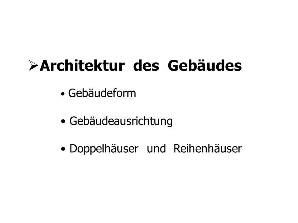 Architektur des Gebäudes Gebäudeform Gebäudeausrichtung Doppelhäuser und Reihenhäuser
