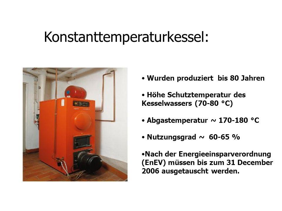 Konstanttemperaturkessel: Wurden produziert bis 80 Jahren Höhe Schutztemperatur des Kesselwassers (70-80 °C) Abgastemperatur ~ 170-180 °C Nutzungsgrad