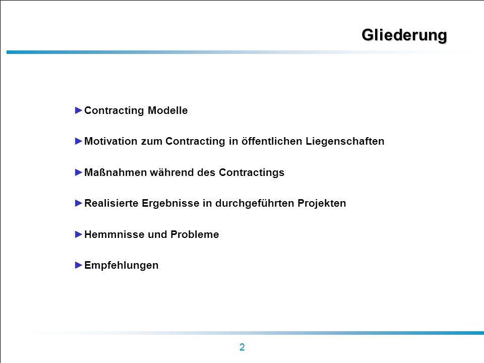 2 Gliederung Contracting Modelle Motivation zum Contracting in öffentlichen Liegenschaften Maßnahmen während des Contractings Realisierte Ergebnisse i
