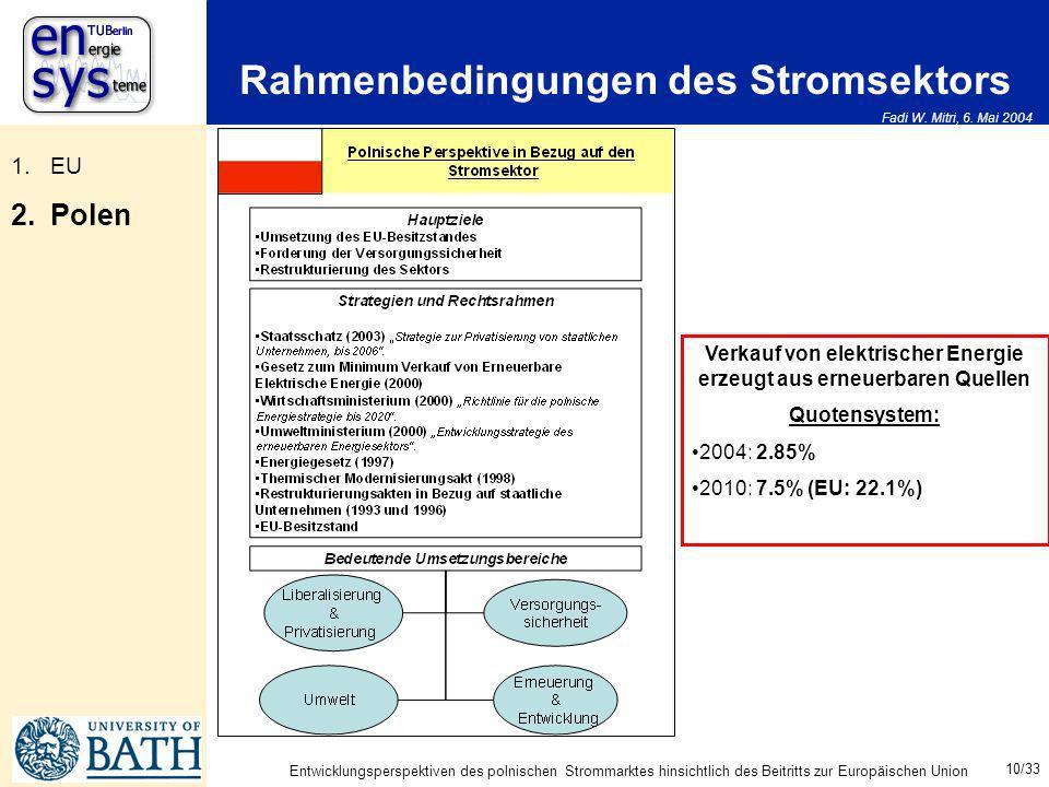 Fadi W. Mitri, 6. Mai 2004 10/33 Entwicklungsperspektiven des polnischen Strommarktes hinsichtlich des Beitritts zur Europäischen Union Rahmenbedingun