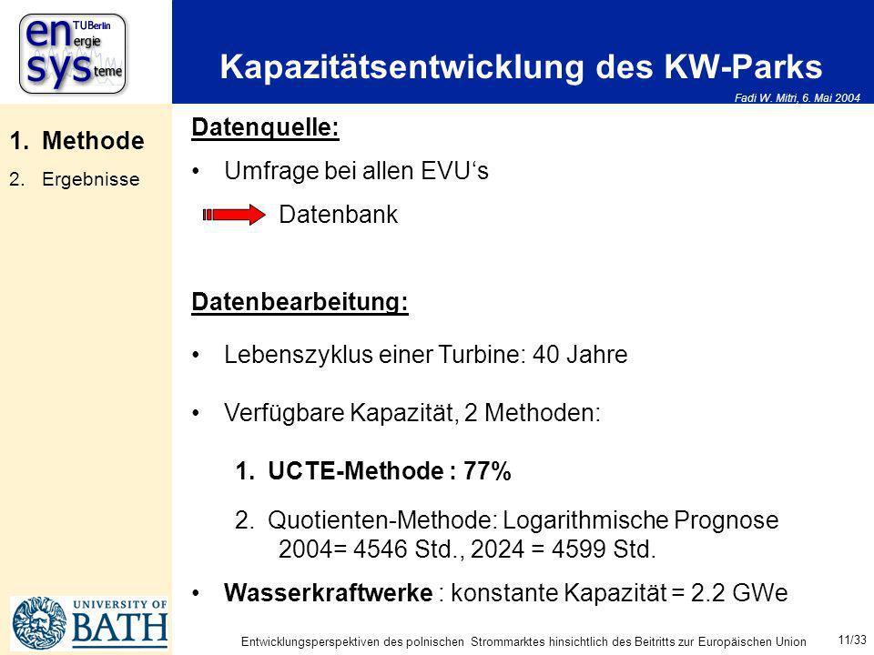 Fadi W. Mitri, 6. Mai 2004 11/33 Entwicklungsperspektiven des polnischen Strommarktes hinsichtlich des Beitritts zur Europäischen Union Kapazitätsentw