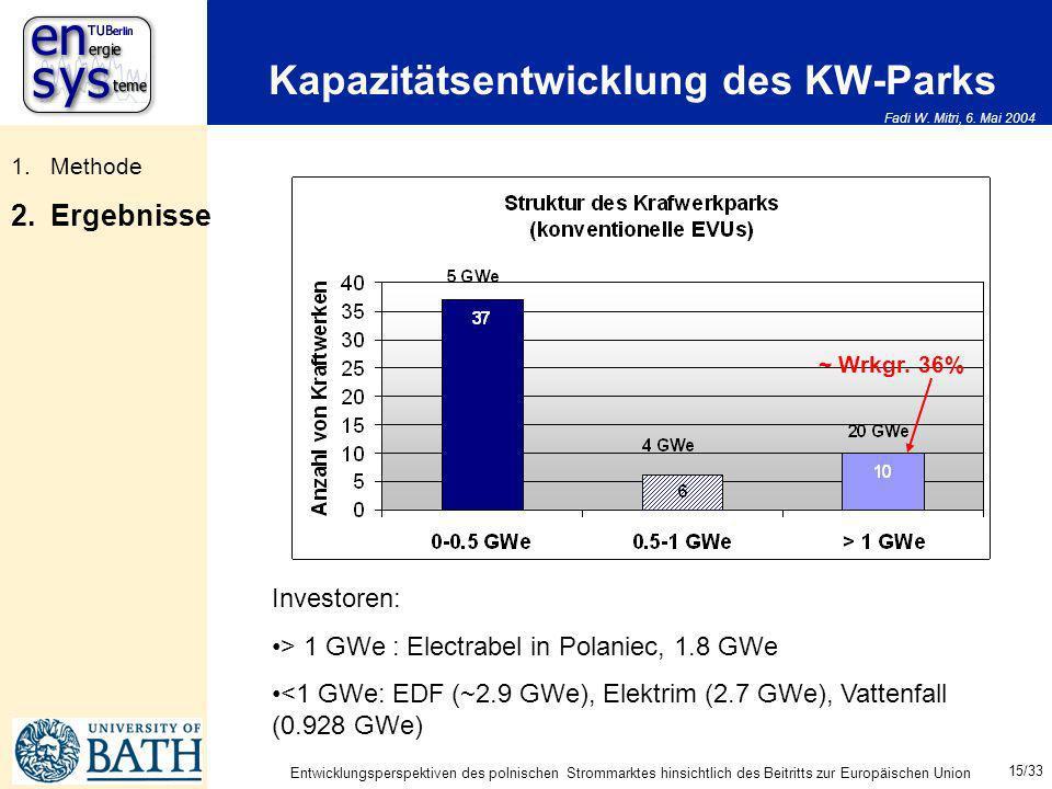 Fadi W. Mitri, 6. Mai 2004 15/33 Entwicklungsperspektiven des polnischen Strommarktes hinsichtlich des Beitritts zur Europäischen Union Kapazitätsentw