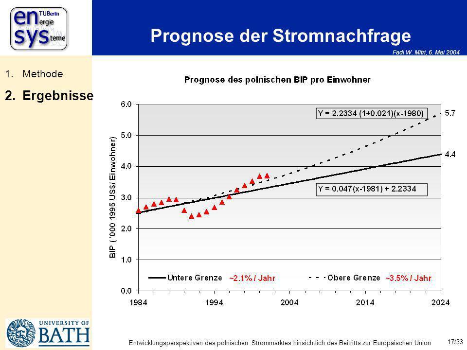 Fadi W. Mitri, 6. Mai 2004 17/33 Entwicklungsperspektiven des polnischen Strommarktes hinsichtlich des Beitritts zur Europäischen Union Prognose der S