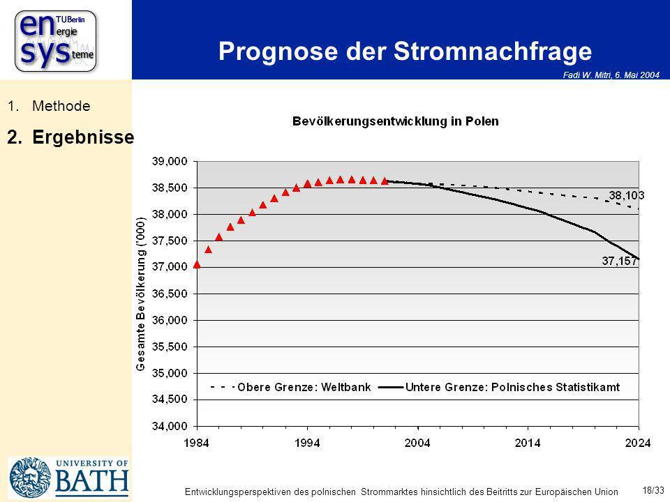 Fadi W. Mitri, 6. Mai 2004 18/33 Entwicklungsperspektiven des polnischen Strommarktes hinsichtlich des Beitritts zur Europäischen Union Prognose der S