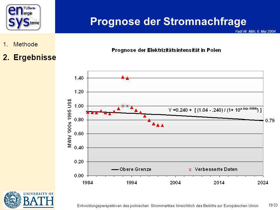 Fadi W. Mitri, 6. Mai 2004 19/33 Entwicklungsperspektiven des polnischen Strommarktes hinsichtlich des Beitritts zur Europäischen Union Prognose der S