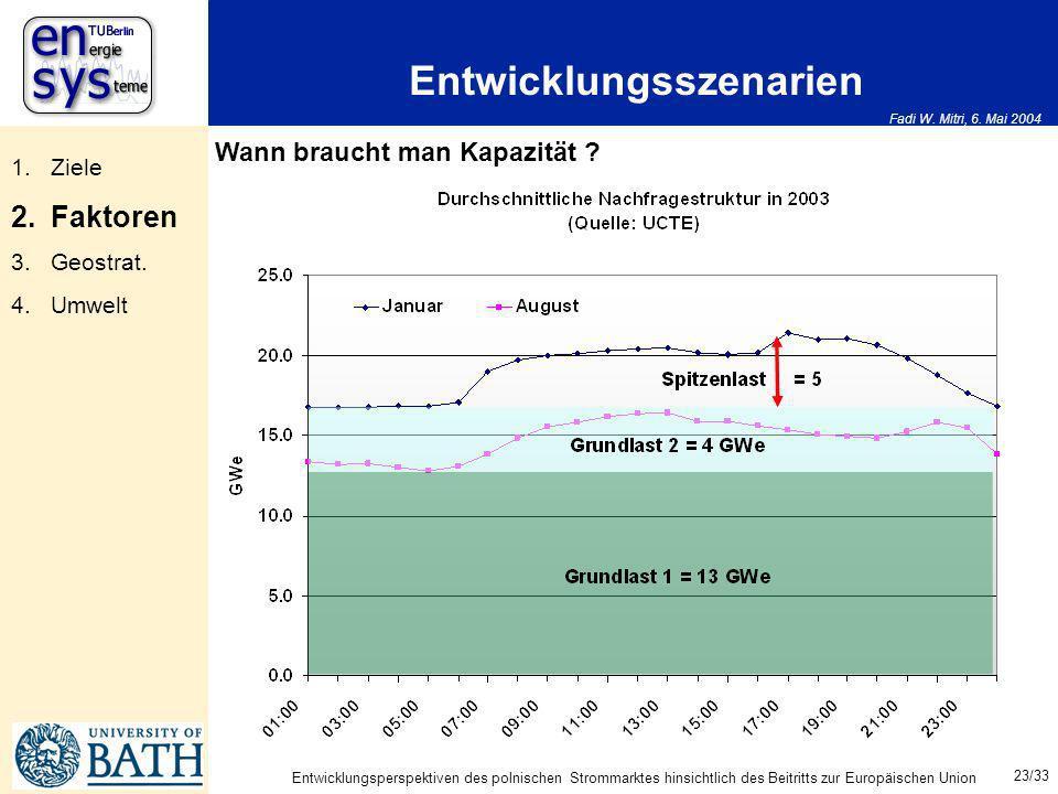 Fadi W. Mitri, 6. Mai 2004 23/33 Entwicklungsperspektiven des polnischen Strommarktes hinsichtlich des Beitritts zur Europäischen Union Entwicklungssz