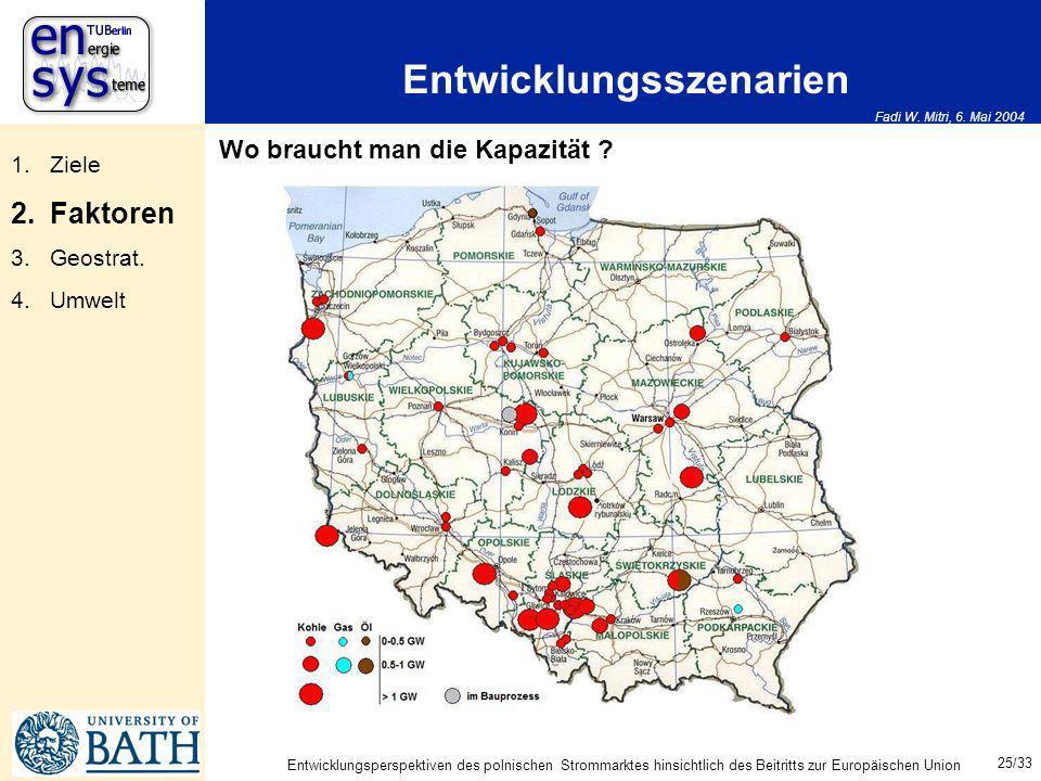 Fadi W. Mitri, 6. Mai 2004 25/33 Entwicklungsperspektiven des polnischen Strommarktes hinsichtlich des Beitritts zur Europäischen Union Entwicklungssz
