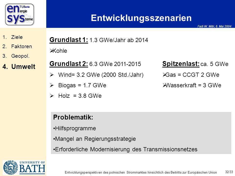 Fadi W. Mitri, 6. Mai 2004 32/33 Entwicklungsperspektiven des polnischen Strommarktes hinsichtlich des Beitritts zur Europäischen Union Entwicklungssz