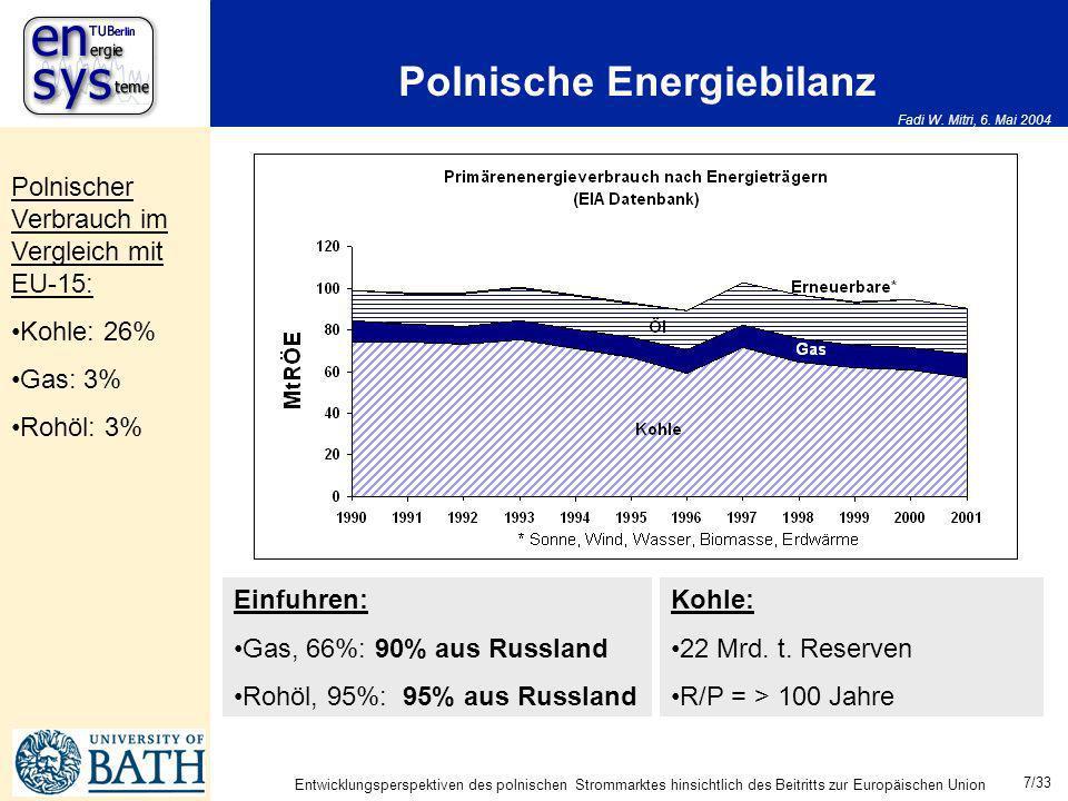 Fadi W. Mitri, 6. Mai 2004 7/33 Entwicklungsperspektiven des polnischen Strommarktes hinsichtlich des Beitritts zur Europäischen Union Polnische Energ