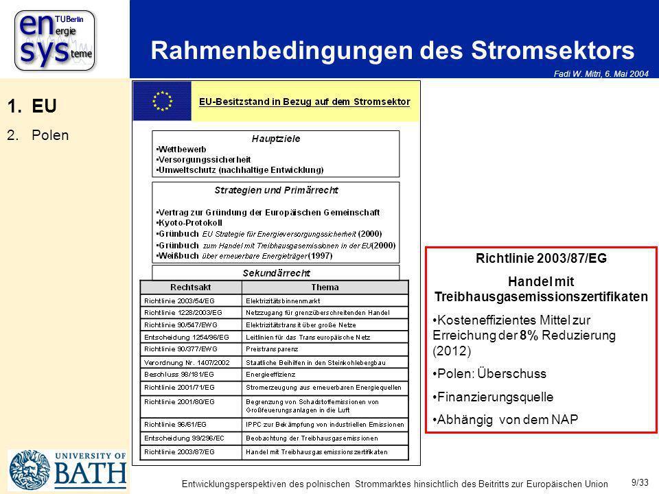 Fadi W. Mitri, 6. Mai 2004 9/33 Entwicklungsperspektiven des polnischen Strommarktes hinsichtlich des Beitritts zur Europäischen Union Rahmenbedingung