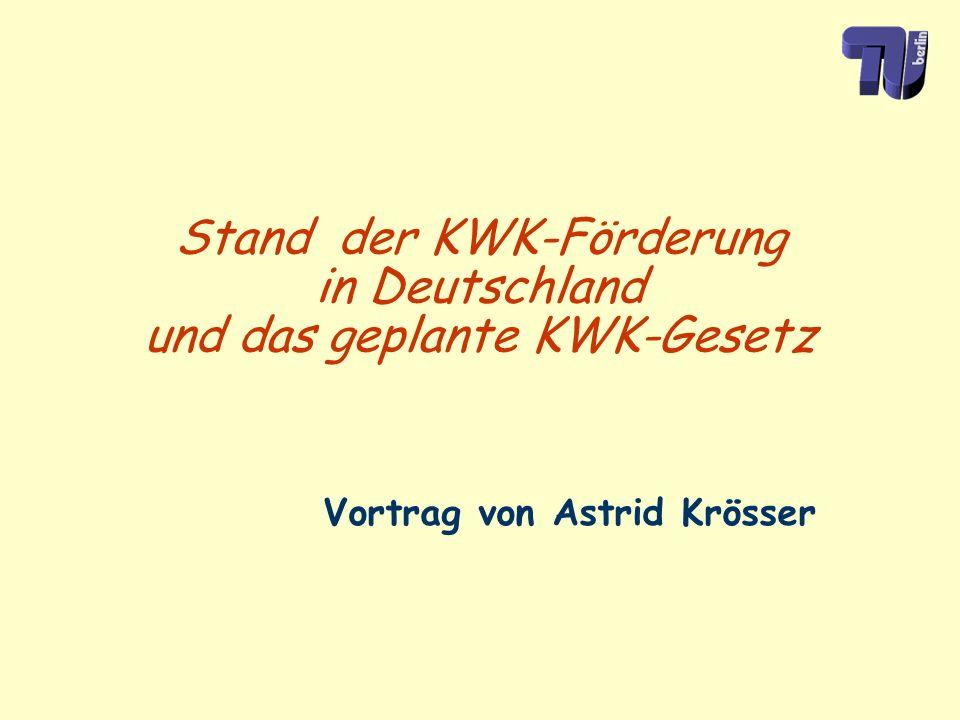Stand der KWK-Förderung in Deutschland und das geplante KWK-Gesetz Vortrag von Astrid Krösser