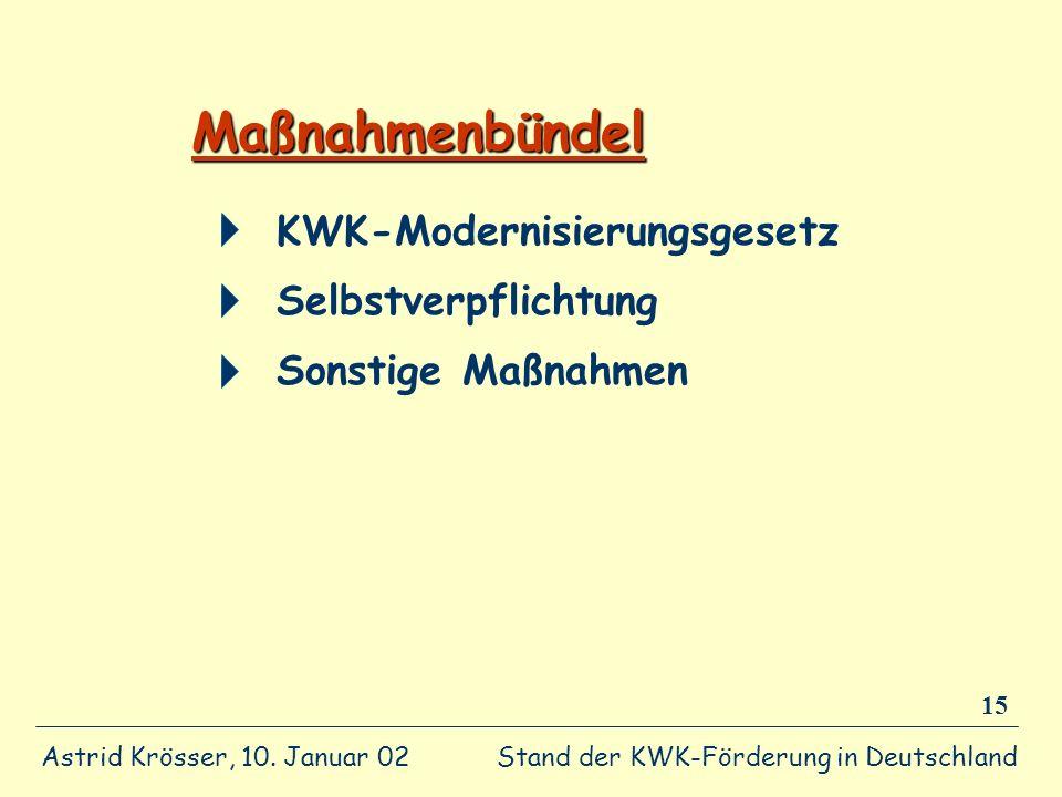 Stand der KWK-Förderung in Deutschland Astrid Krösser, 10. Januar 02 15 Maßnahmenbündel KWK-Modernisierungsgesetz Selbstverpflichtung Sonstige Maßnahm