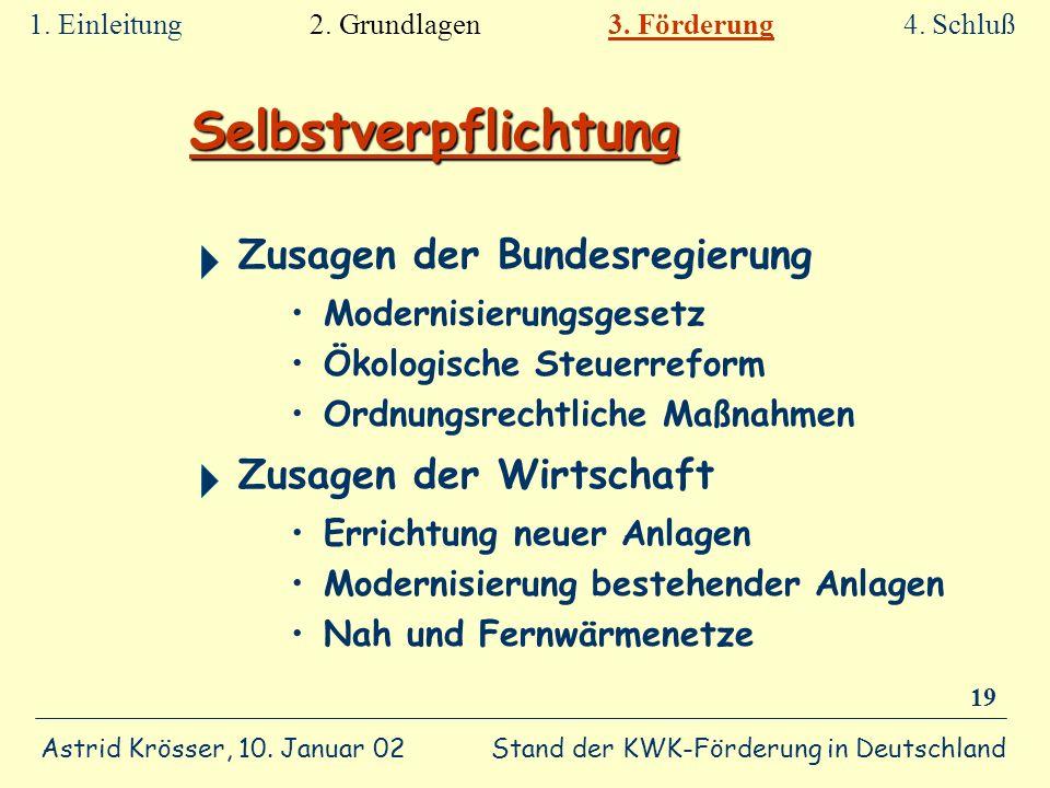 Stand der KWK-Förderung in Deutschland Astrid Krösser, 10. Januar 02 19 Selbstverpflichtung Zusagen der Bundesregierung Modernisierungsgesetz Ökologis