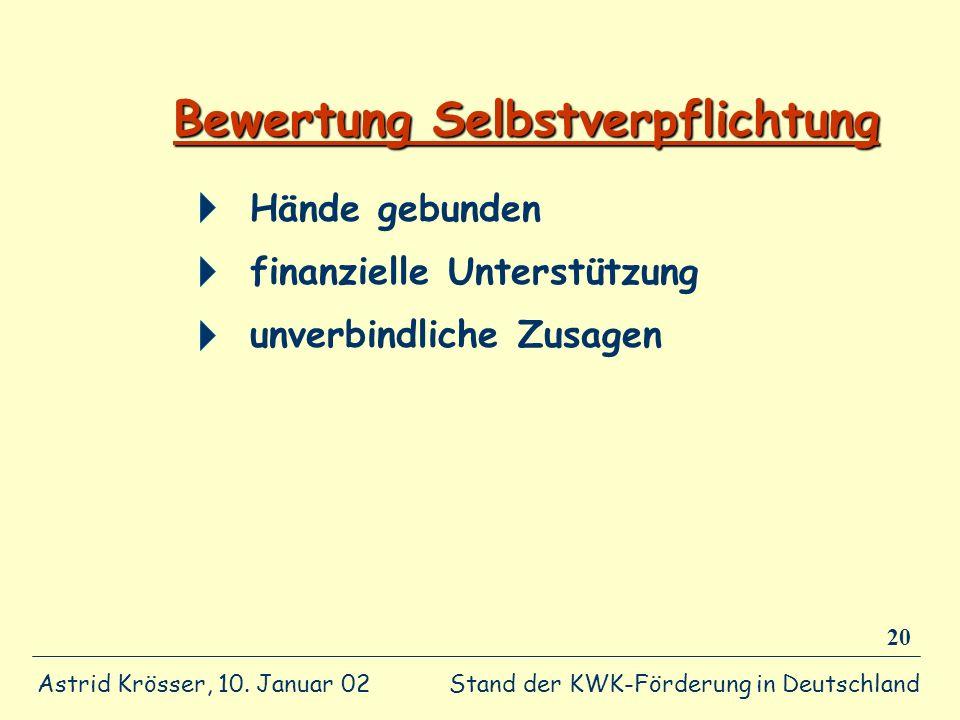 Stand der KWK-Förderung in Deutschland Astrid Krösser, 10. Januar 02 20 Bewertung Selbstverpflichtung Hände gebunden finanzielle Unterstützung unverbi