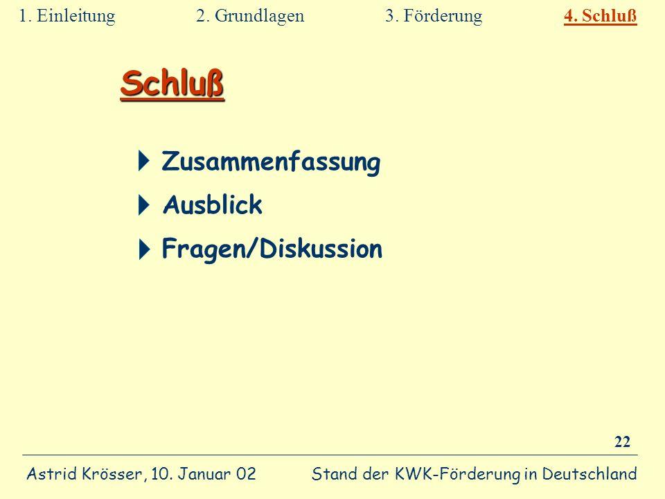 Stand der KWK-Förderung in Deutschland Astrid Krösser, 10. Januar 02 22 Schluß Zusammenfassung Ausblick Fragen/Diskussion 1. Einleitung 2. Grundlagen