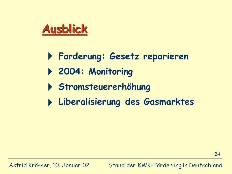 Stand der KWK-Förderung in Deutschland Astrid Krösser, 10. Januar 02 24 Ausblick Forderung: Gesetz reparieren 2004: Monitoring Stromsteuererhöhung Lib
