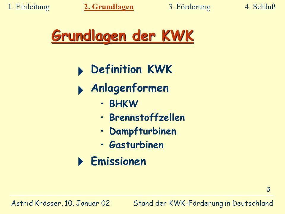Stand der KWK-Förderung in Deutschland Astrid Krösser, 10. Januar 02 3 Grundlagen der KWK Definition KWK Anlagenformen BHKW Brennstoffzellen Dampfturb