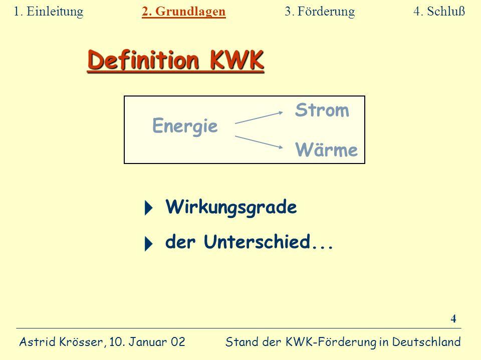 Stand der KWK-Förderung in Deutschland Astrid Krösser, 10. Januar 02 4 Definition KWK Wirkungsgrade der Unterschied... 1. Einleitung 2. Grundlagen 3.