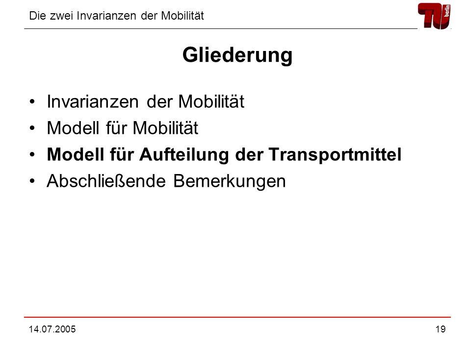 Die zwei Invarianzen der Mobilität 14.07.200519 Gliederung Invarianzen der Mobilität Modell für Mobilität Modell für Aufteilung der Transportmittel Ab