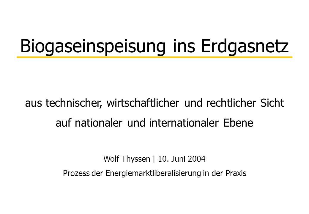 Biogaseinspeisung ins Erdgasnetz aus technischer, wirtschaftlicher und rechtlicher Sicht auf nationaler und internationaler Ebene Wolf Thyssen | 10. J
