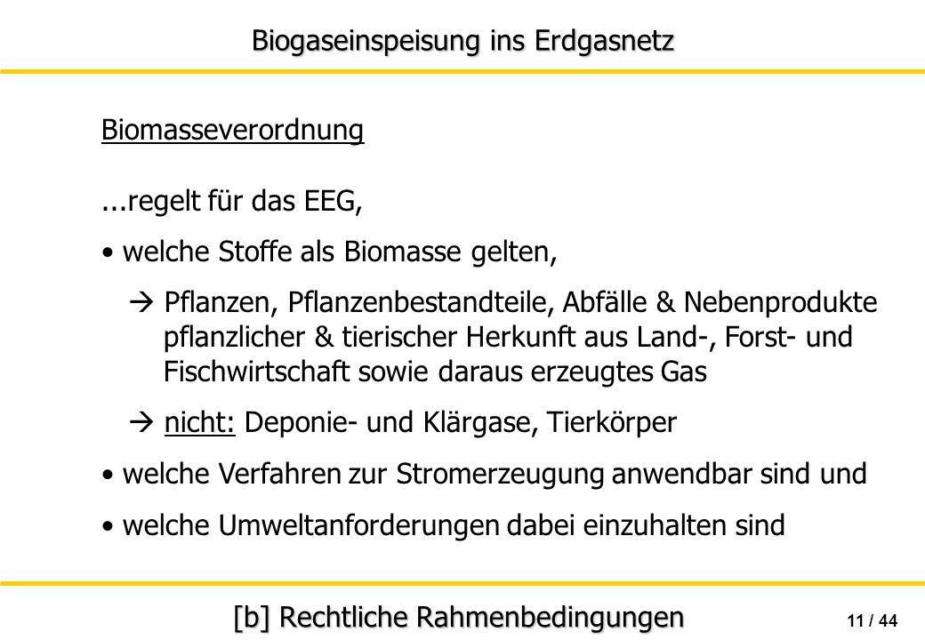 Biogaseinspeisung ins Erdgasnetz 11 / 44 [b] Rechtliche Rahmenbedingungen Biomasseverordnung...regelt für das EEG, welche Stoffe als Biomasse gelten,