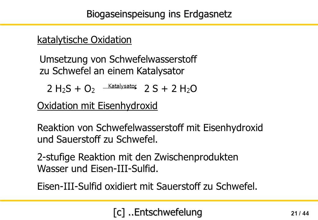 Biogaseinspeisung ins Erdgasnetz 21 / 44 [c]..Entschwefelung Umsetzung von Schwefelwasserstoff zu Schwefel an einem Katalysator 2 H 2 S + O 2 2 S + 2