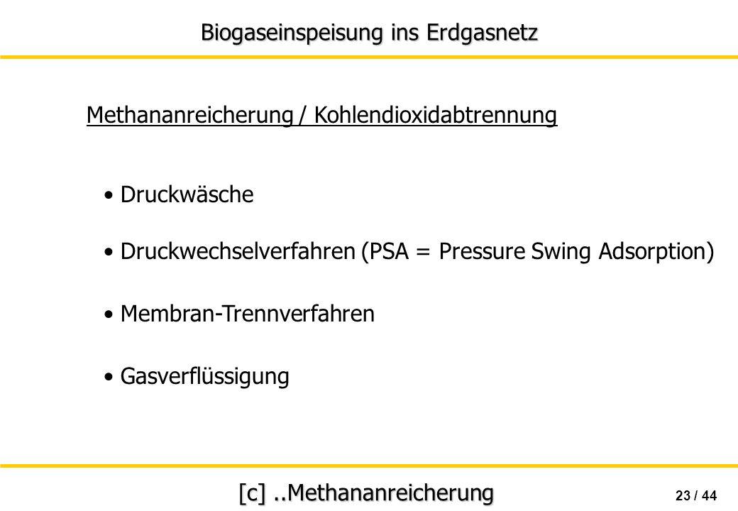 Biogaseinspeisung ins Erdgasnetz 23 / 44 [c]..Methananreicherung Druckwäsche Methananreicherung / Kohlendioxidabtrennung Druckwechselverfahren (PSA =