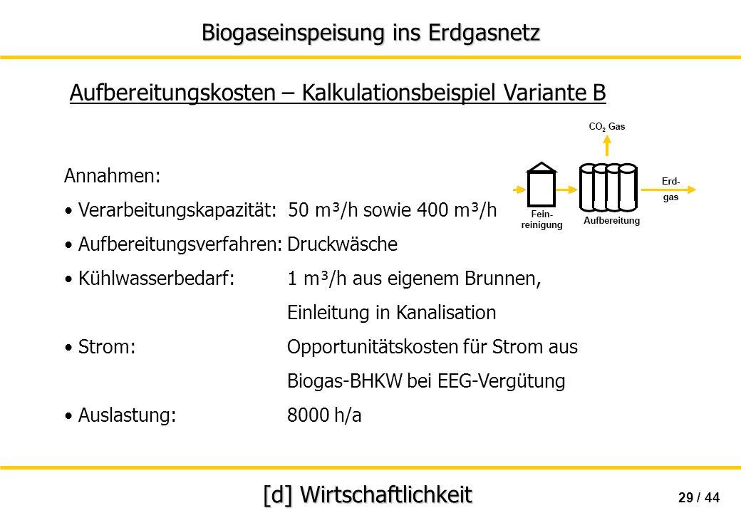 Biogaseinspeisung ins Erdgasnetz 29 / 44 [d] Wirtschaftlichkeit Aufbereitungskosten – Kalkulationsbeispiel Variante B Annahmen: Verarbeitungskapazität