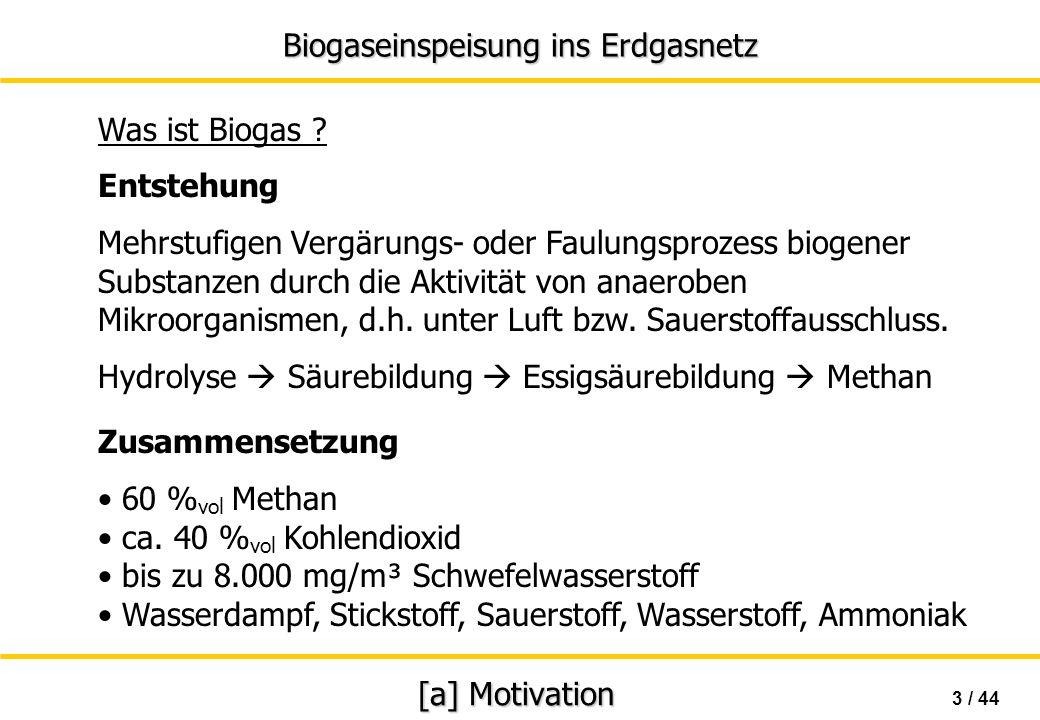 Biogaseinspeisung ins Erdgasnetz 4 / 44 [a] Motivation Nutzbares Aufkommen von Biogas in Deutschland Mist & Gülle 80 PJ / a(22 TWh) Biomüll 10 PJ / a (3 TWh) Energiepflanzen 200 PJ / a(55 TWh) insgesamt 290 PJ / a (80 TWh) 25 TWh el 1 m³ Biogas 0,6 l Heizöl 6 kWh