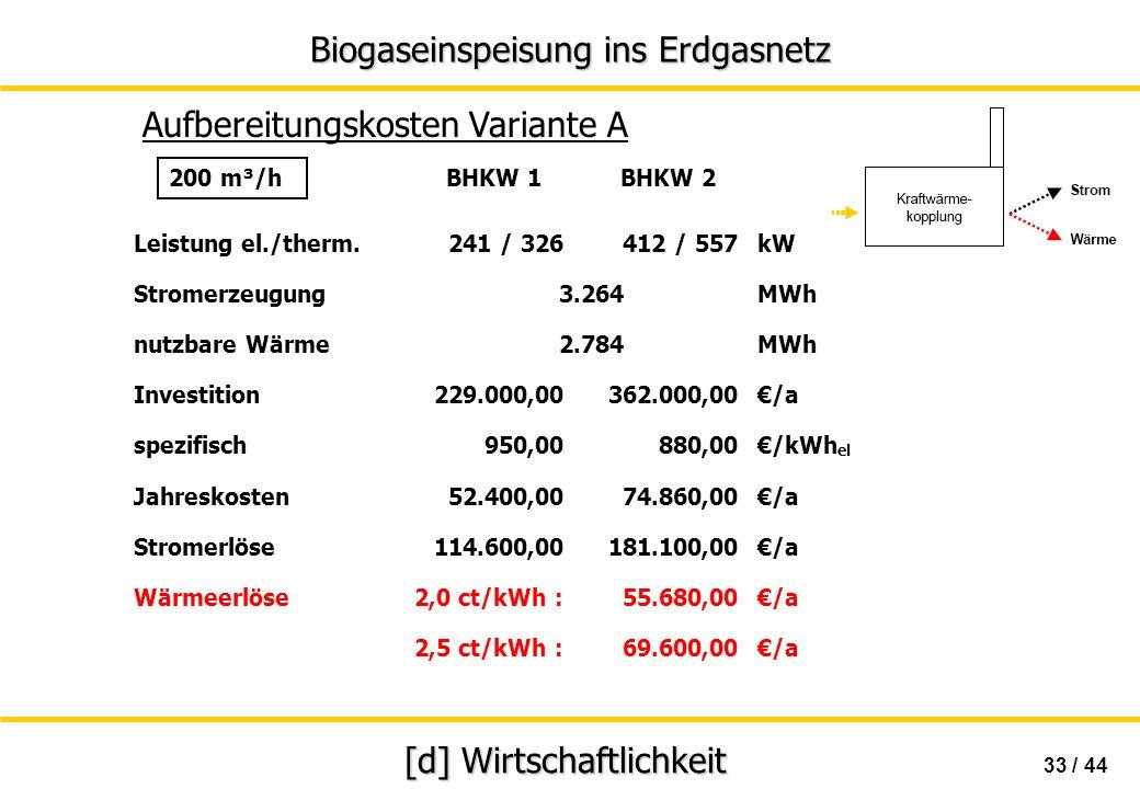 Biogaseinspeisung ins Erdgasnetz 33 / 44 [d] Wirtschaftlichkeit Aufbereitungskosten Variante A BHKW 1 BHKW 2 Leistung el./therm.241 / 326412 / 557kW S