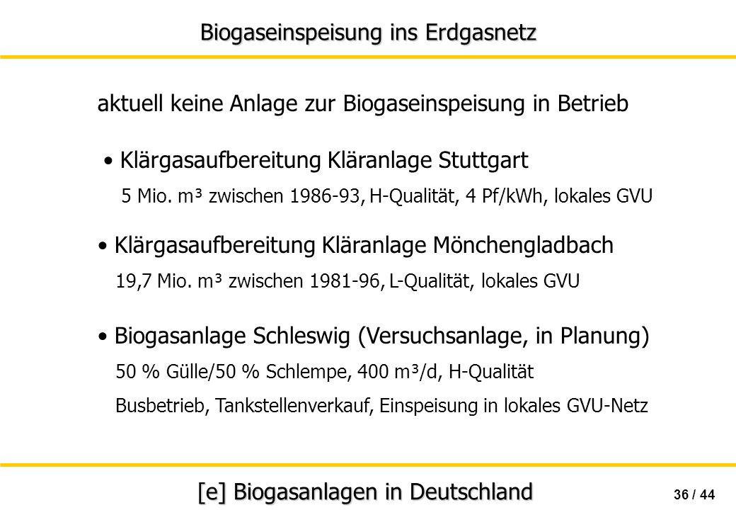 Biogaseinspeisung ins Erdgasnetz 36 / 44 [e] Biogasanlagen in Deutschland aktuell keine Anlage zur Biogaseinspeisung in Betrieb Klärgasaufbereitung Kl