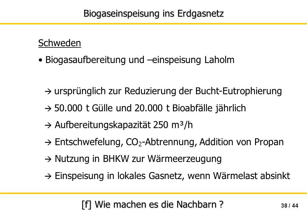 Biogaseinspeisung ins Erdgasnetz 38 / 44 [f] Wie machen es die Nachbarn ? Schweden Biogasaufbereitung und –einspeisung Laholm ursprünglich zur Reduzie