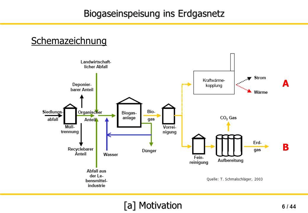 Biogaseinspeisung ins Erdgasnetz 7 / 44 [a] Motivation Nutzung von Biogas Variante A Gewinnung / Erzeugung von Biogas Vorreinigung a) Deckung von Eigenbedarf (BHKW, Fermenter,...) b) Betrieb von kommerziellem BHKW Absatz von Strom & Wärme Variante B Gewinnung/Erzeugung von Biogas Aufbereitung auf Erdgasqualität a) Absatz / Einspeisung ins Erdgasnetz b) Einsatz als Treibstoff für Kraftfahrzeuge