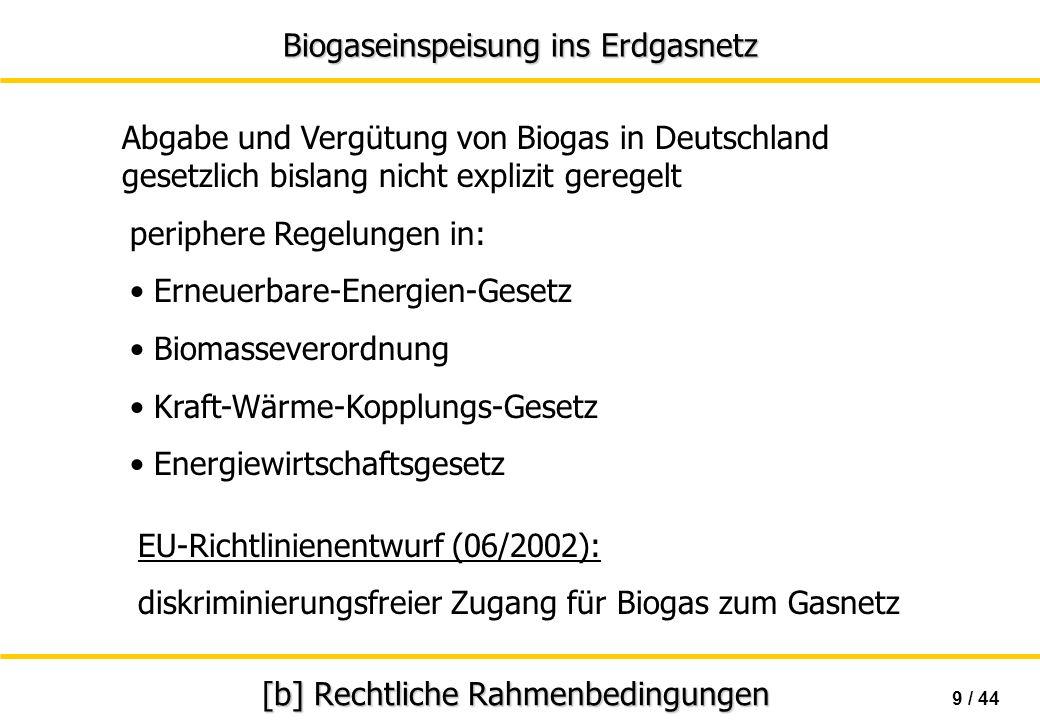 Biogaseinspeisung ins Erdgasnetz 20 / 44 [c]..Entschwefelung Schwefelgehalt beeinträchtigt Lebensdauer von Leitungen und Verbrauchseinrichtungen hauptsächlich chemische Adsorptionsverfahren gewöhnliches Verfahren in der Landwirtschaft - katalytische Oxidation - Oxidation mit Eisenhydroxid Entschwefelung - biologische Oxidation