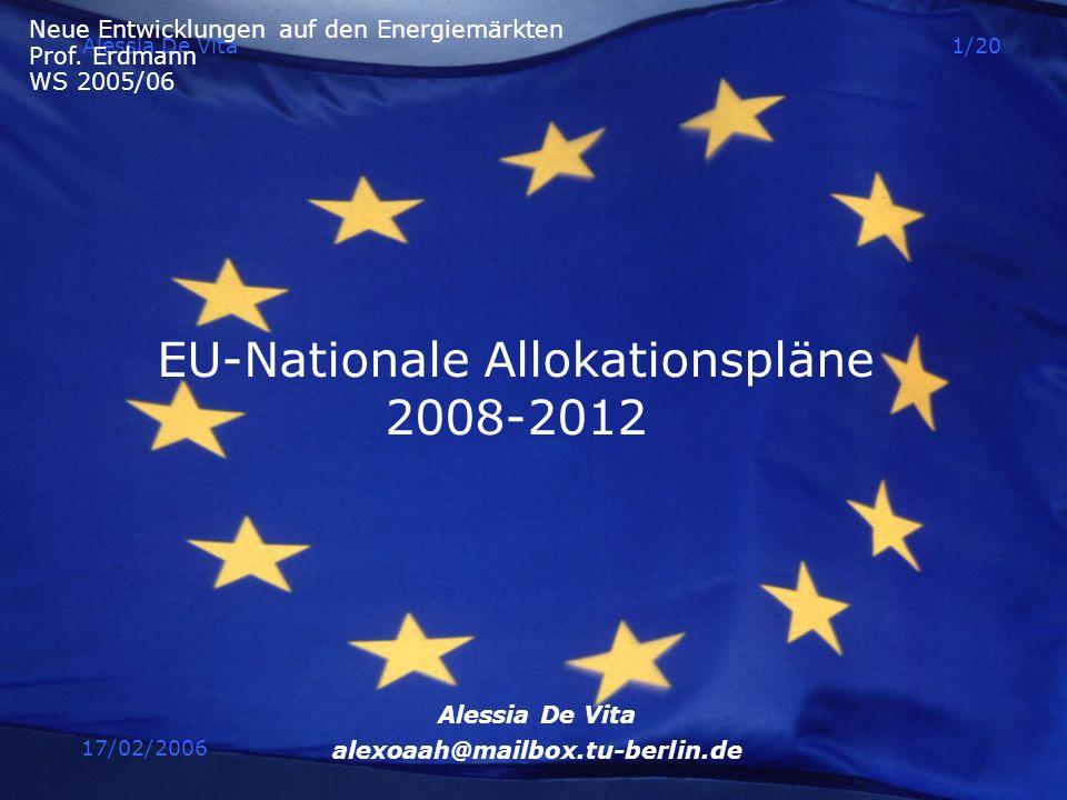 17/02/2006 Alessia De Vita1/20 EU-Nationale Allokationspläne 2008-2012 Alessia De Vita alexoaah@mailbox.tu-berlin.de Neue Entwicklungen auf den Energi
