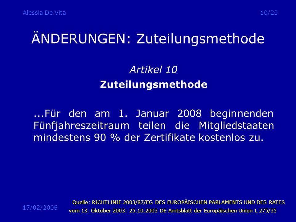 17/02/2006 Alessia De Vita10/20 ÄNDERUNGEN: Zuteilungsmethode Artikel 10 Zuteilungsmethode...Für den am 1. Januar 2008 beginnenden Fünfjahreszeitraum