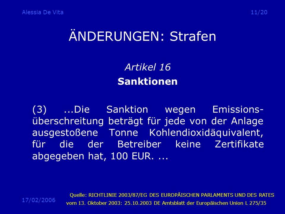 17/02/2006 Alessia De Vita11/20 ÄNDERUNGEN: Strafen Artikel 16 Sanktionen (3)...Die Sanktion wegen Emissions- überschreitung beträgt für jede von der