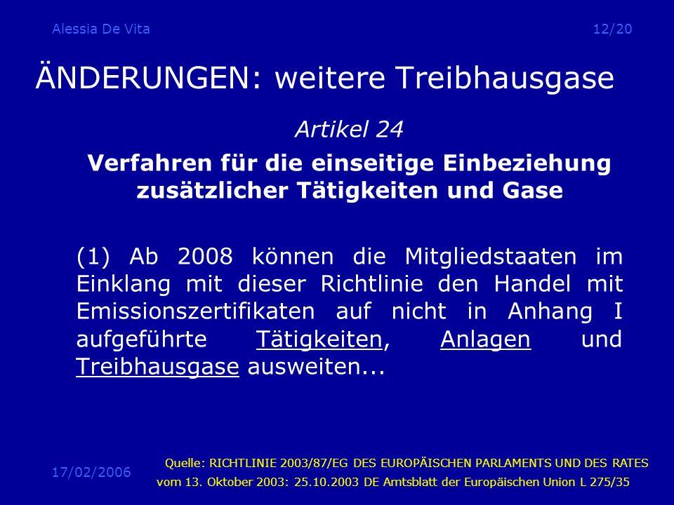 17/02/2006 Alessia De Vita12/20 ÄNDERUNGEN: weitere Treibhausgase Artikel 24 Verfahren für die einseitige Einbeziehung zusätzlicher Tätigkeiten und Ga
