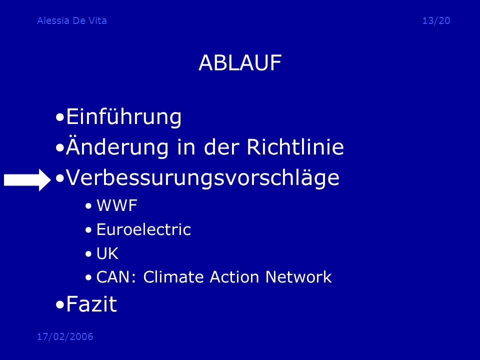 17/02/2006 Alessia De Vita13/20 ABLAUF Einführung Änderung in der Richtlinie Verbessurungsvorschläge WWF Euroelectric UK CAN: Climate Action Network F