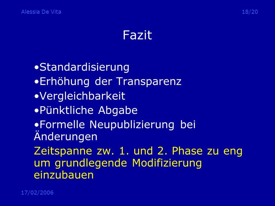 17/02/2006 Alessia De Vita18/20 Fazit Standardisierung Erhöhung der Transparenz Vergleichbarkeit Pünktliche Abgabe Formelle Neupublizierung bei Änderu