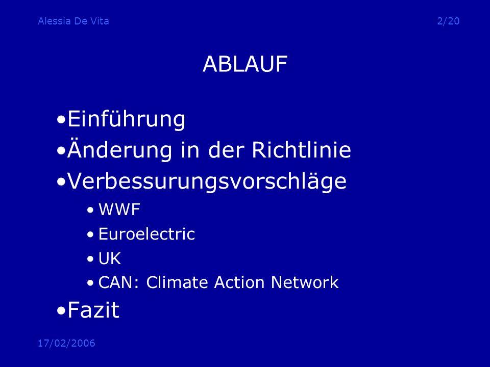 17/02/2006 Alessia De Vita13/20 ABLAUF Einführung Änderung in der Richtlinie Verbessurungsvorschläge WWF Euroelectric UK CAN: Climate Action Network Fazit