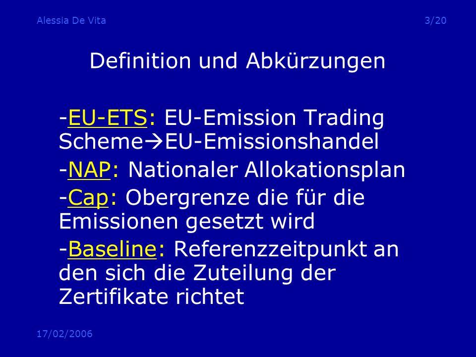 17/02/2006 Alessia De Vita3/20 Definition und Abkürzungen -EU-ETS: EU-Emission Trading Scheme EU-Emissionshandel -NAP: Nationaler Allokationsplan -Cap