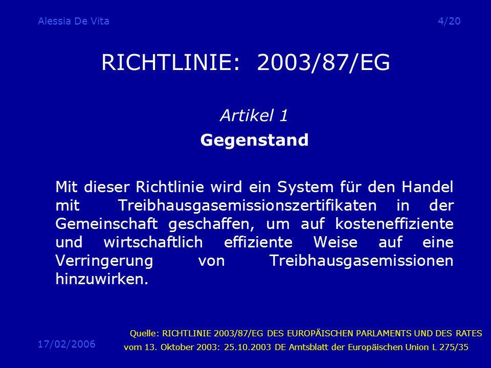 17/02/2006 Alessia De Vita4/20 RICHTLINIE: 2003/87/EG Artikel 1 Gegenstand Mit dieser Richtlinie wird ein System für den Handel mit Treibhausgasemissi