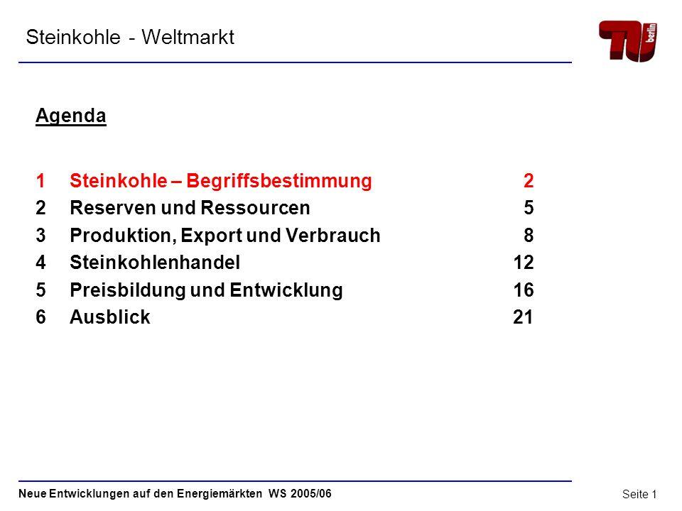 Neue Entwicklungen auf den Energiemärkten WS 2005/06 Technische Universität Berlin Institut für Energietechnik Fachgebiet Energiesysteme Steinkohle -