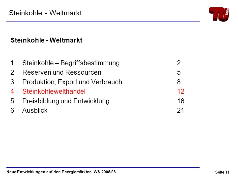 Neue Entwicklungen auf den Energiemärkten WS 2005/06 Seite 10 3.3 Produktion und Verbrauch Quelle: Verein der Kohleimporteure e.V.